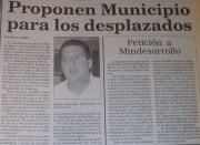 Proposal to build a municipality for violently displaced populations of the Caribbean. 1997, local press archives.