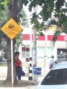 Arroyo peligroso (beware of dangerous flash-flooding). Traffic sign. Barranquilla.